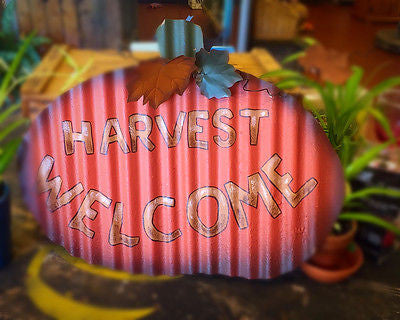 """HARVEST WELCOME"" PUMPKIN SIGN rustic corrugated tin"