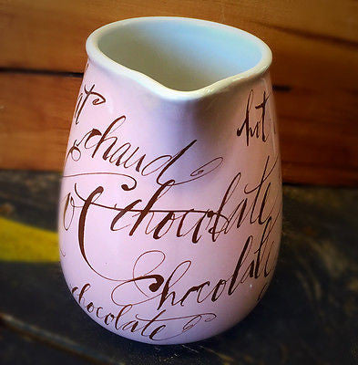 Hot Chocolate Pitcher Rosanna pink with brown words Multiple Languages
