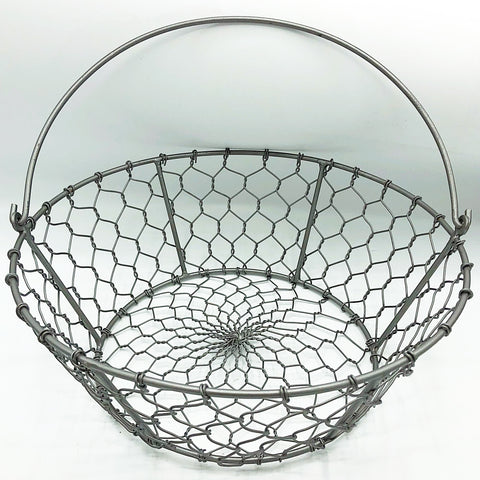 "Large Chicken Wire Basket with Handle 11.5"" D"