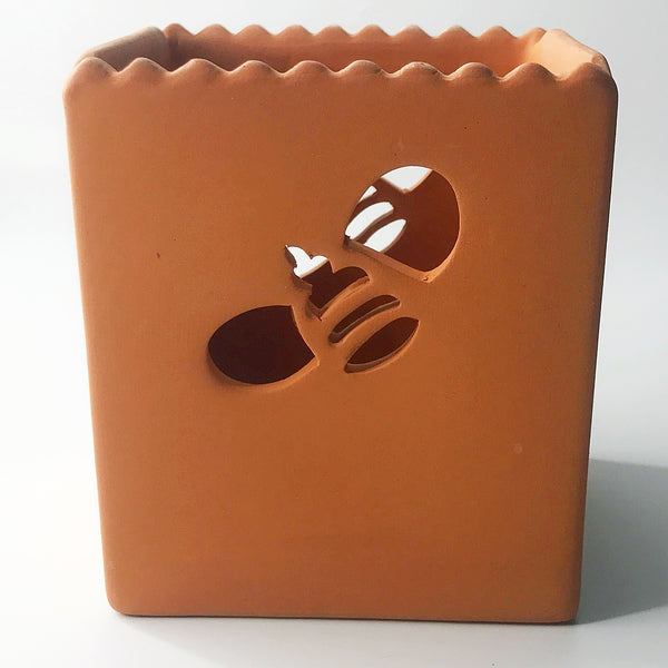 Terra Cotta Bee Cut Out Candle Holder