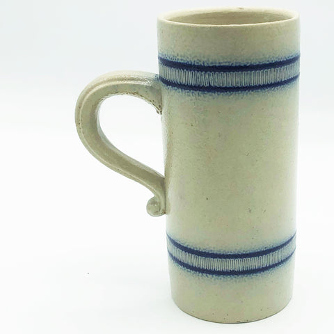 Salt Glaze Pottery Tall Blue Striped Mug