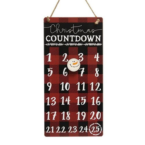 Buffalo Check Snowman Christmas Countdown