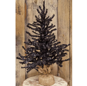 Halloween Black 2 ft Pine Tree with Burlap Base