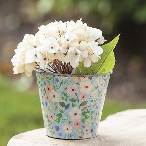 Vintage-Style Blue Floral Small Metal Bucket