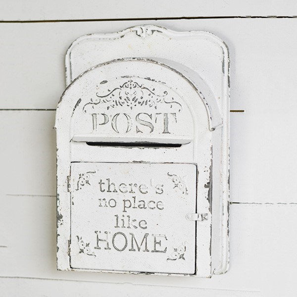 There's No Place Like Home White Distressed Post Box