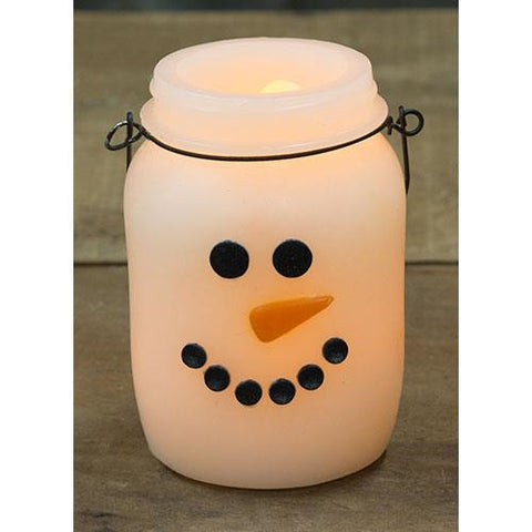 Snowman Jar Shaped LED Battery Powered Candle with Timer