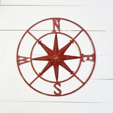 "Distressed Red Compass 18"" Wall Hanging"