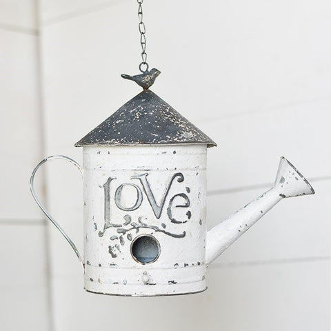 Chippy White Love Watering Can Birdhouse