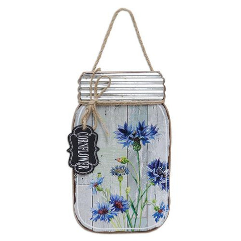 Slat Cornflower Mason Jar Hanging Sign