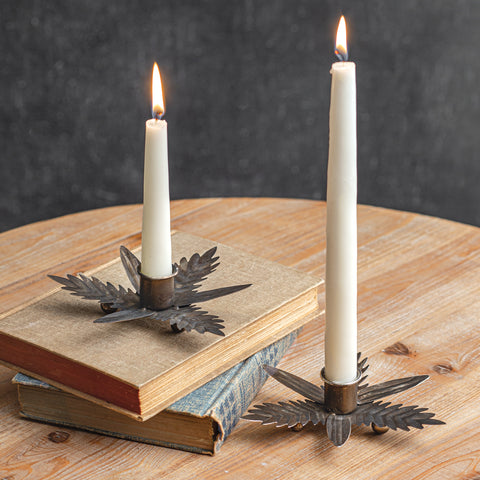 Set of 2 Galvanized Leaf Candle Holder