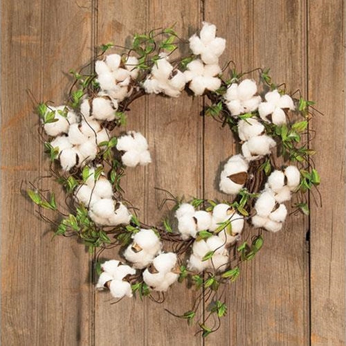 "Cotton & Willow Leaves 22"" Wreath"