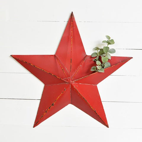 Large Red Star Wall Pocket 24""