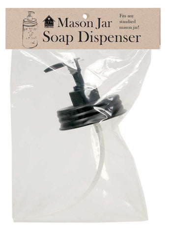 Mason Jar Soap Dispenser Black Lid - Fits Standard Mason Jar
