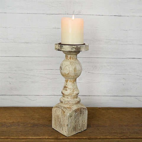"White Antiqued 12"" Pillar Wood Candleholder"