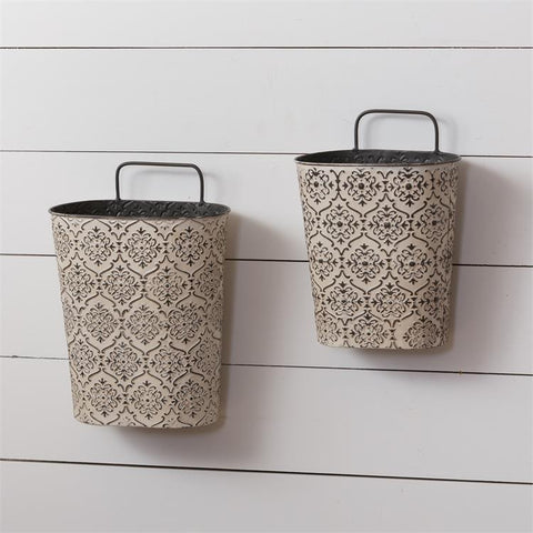 Set of 2 Embossed Patterned Wall Pockets