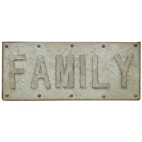 "Family Galvanized 14"" Riveted Sign"