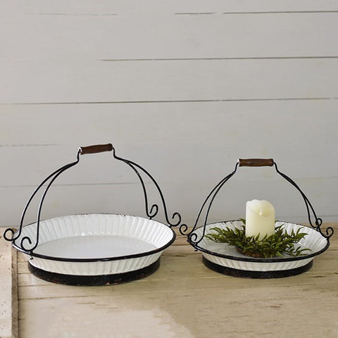 Set of 2 White with Black Trim Pie Displayers