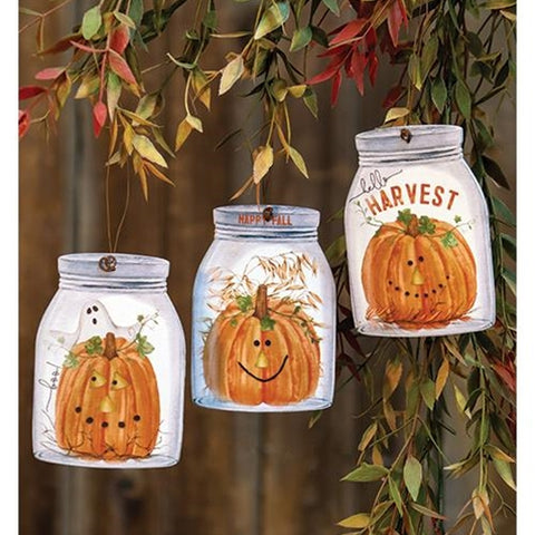 Set of 3 Happy Fall Mason Jar Shaped Ornaments