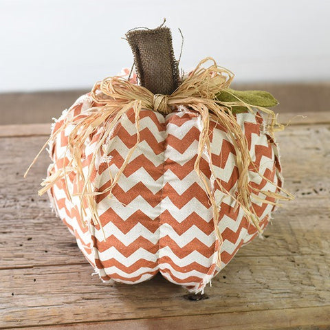 Chevron Fabric Orange and Cream Pumpkin