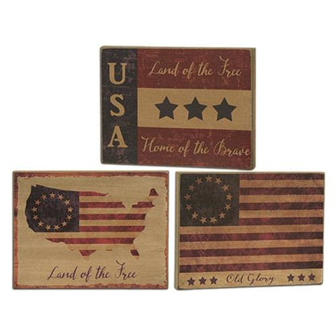 Set of 3 Land of the Free Americana Patriotic Flag Blocks