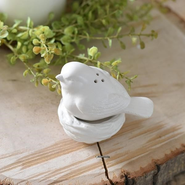 White Elegance White Bird and Nest Salt & Pepper