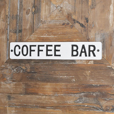 "Coffee Bar Black and White 8.25"" L Tin Sign"