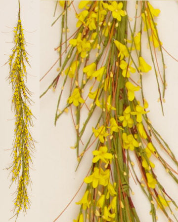 Spring Wispy Yellow Forsythia Garland - 6 ft Long