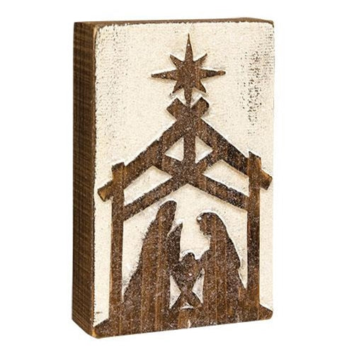Rustic Silhouette Nativity Box Sign