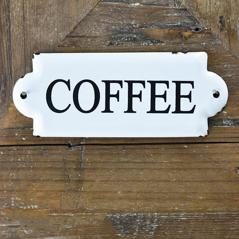 "COFFEE White and Black 7"" Metal Sign"