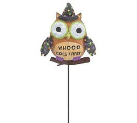 Metal Mesh Owl Shaped Who Goes There Stake Halloween