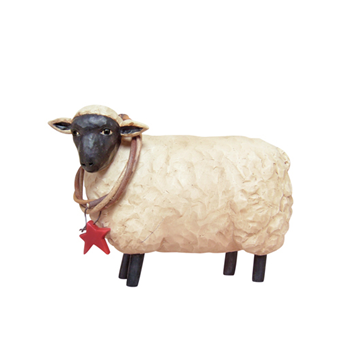 Small Sheep with Star Twig Wreath Figure
