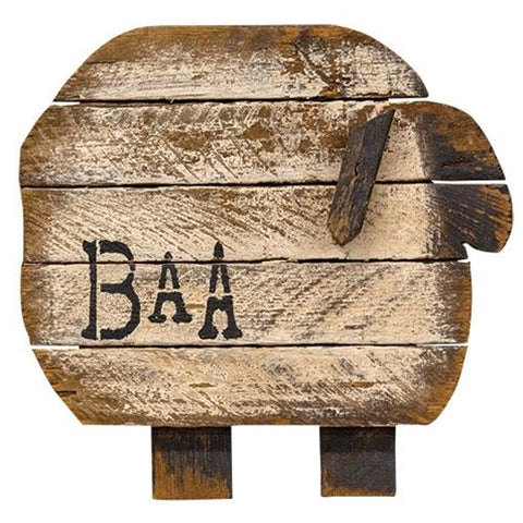 Rustic Wooden Lath Baa Sheep Hanging Plaque