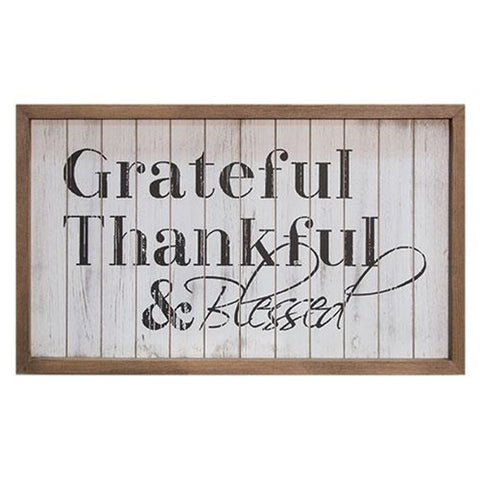 Grateful Thankful & Blessed - Framed Sign