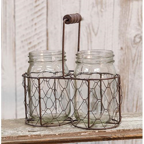 Duo Glass Jars in Chicken Wire Basket