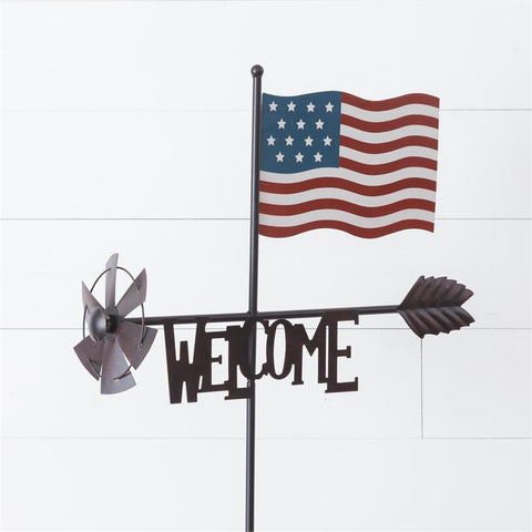 American Flag Weathervane Welcome Garden Stake