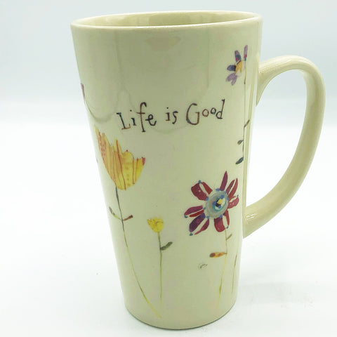 Life is Good Robin Rawlings Tall Floral Mug Natural Life