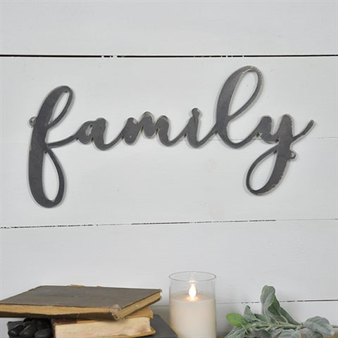 "Tin Family Script 19"" Cut-out Sign"