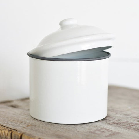 Small White Tin Canister with Lid