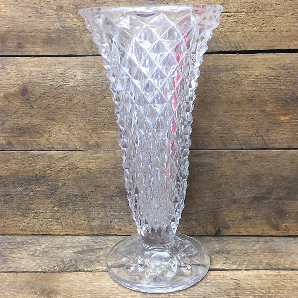 "Fluted Cut Glass Vase 8"" H"