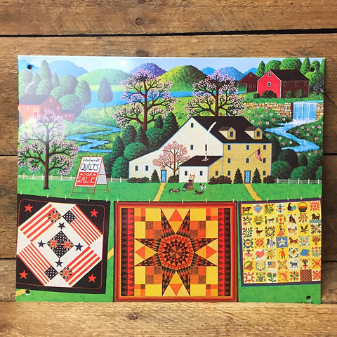 "Charles Wysocki Handmade Quilts for Sale Tin Sign 6"" x 9"""