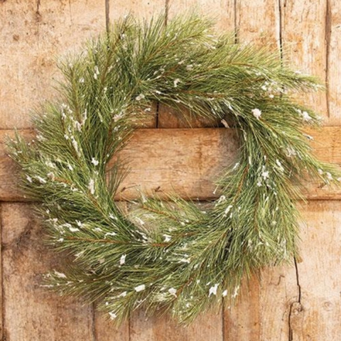 "Snowy Silver Fir 24"" Faux Wreath"