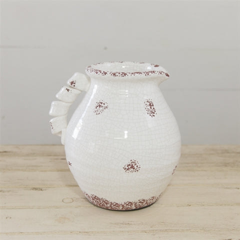 "Distressed Chubby White Crackle Pitcher 9"" H"