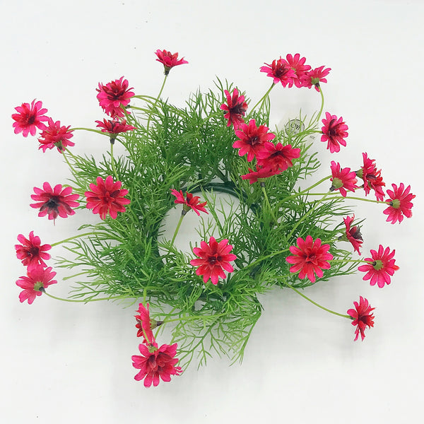 "Deep Pink Daisy and Foliage 6"" Small Wreath Ring"