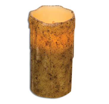 Burnt Ivory Drip Battery Powered Pillar Candle