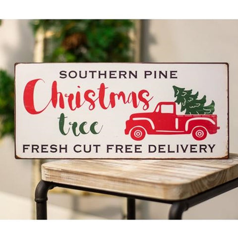 Southern Pine Christmas Tree Red Truck Metal Sign