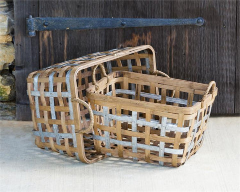Set of 2 Bamboo and Metal Woven Baskets