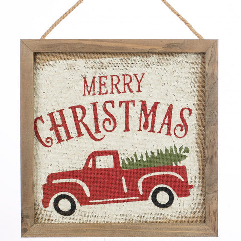 "Merry Christmas Vintage Truck 12"" Hanging Framed Sign"