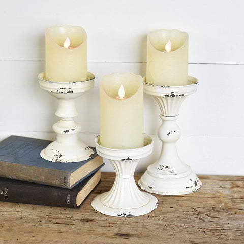 Set of 3 Rustic White Tin Pillar Stands