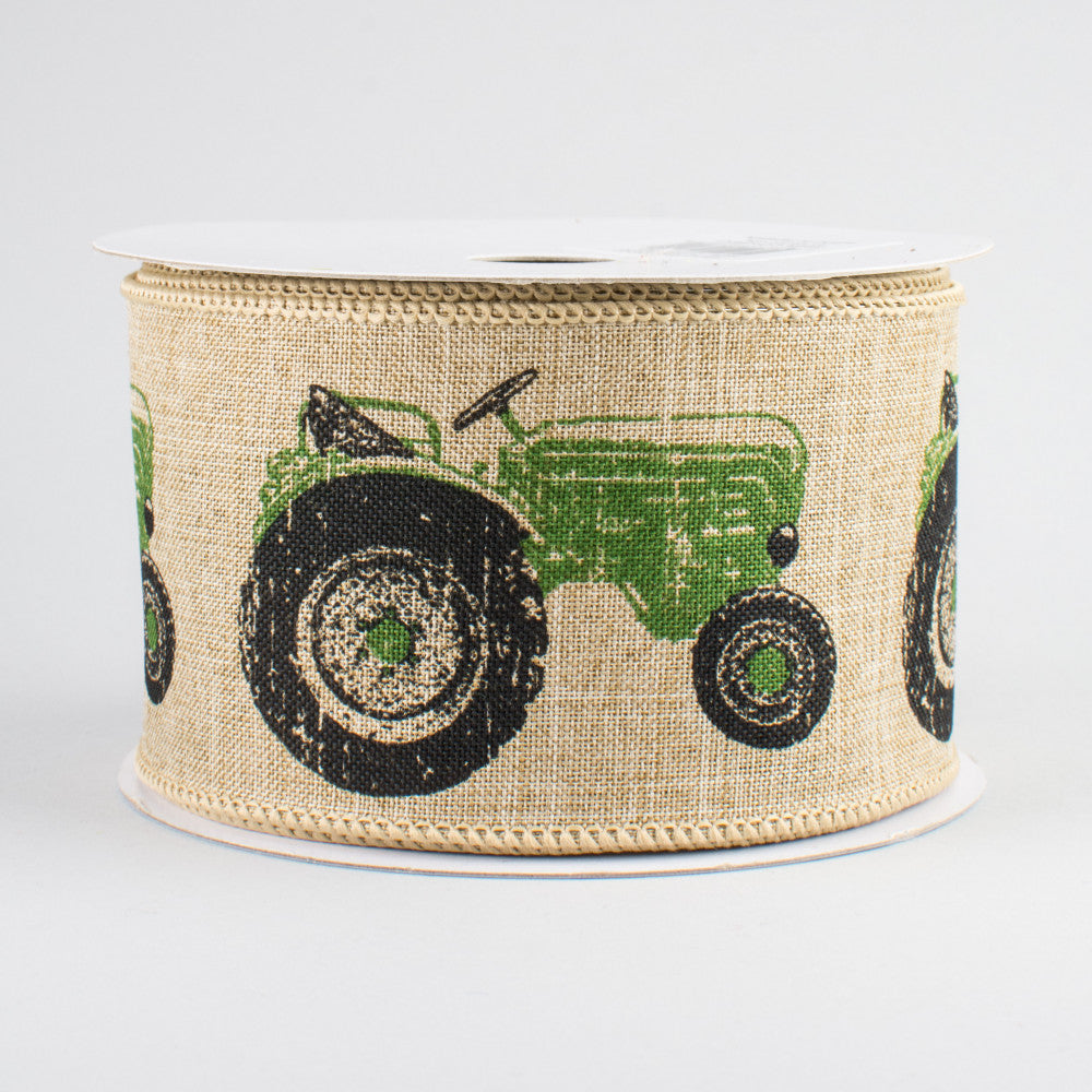 "Green Tractor Ribbon with Natural Background 2.5"" W x 10 yards"