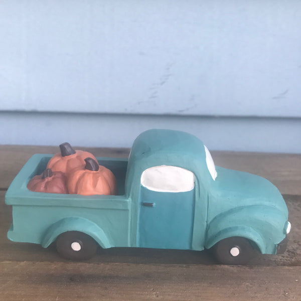 Blue Resin Truck with Pumpkins Fall Figure